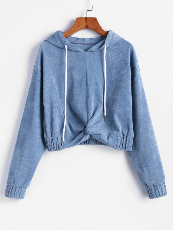 affordable ZAFUL Corduroy Twisted Drop Shoulder Pullover Hoodie - BLUE GRAY S