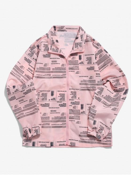 best Letter Graphic Allover Print Casual Zipper Jacket - ROSE S