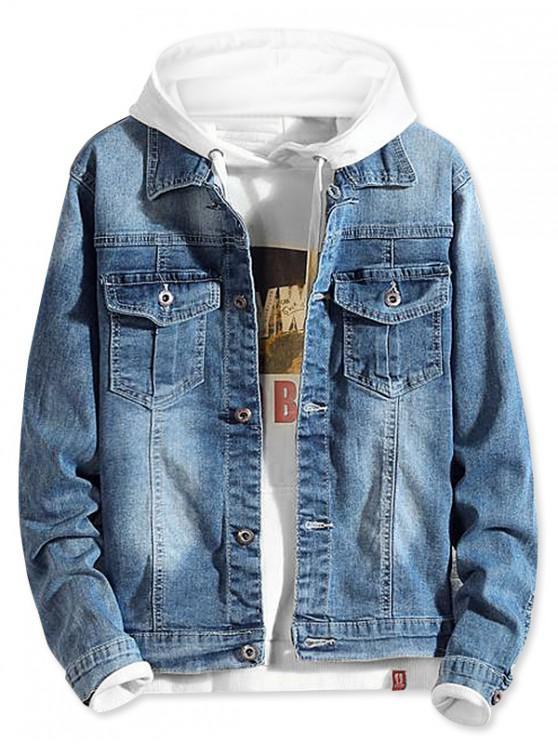 ladies Flap Pocket Faded Wash Stitching Denim Jacket - BLUE KOI S