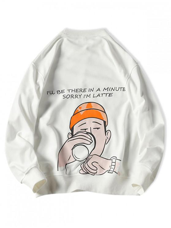 shop Drinking Men Letter Graphic Print Pullover Casual Sweatshirt - WHITE 2XL