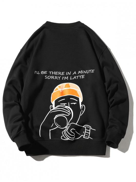 chic Drinking Men Letter Graphic Print Pullover Casual Sweatshirt - BLACK 2XL