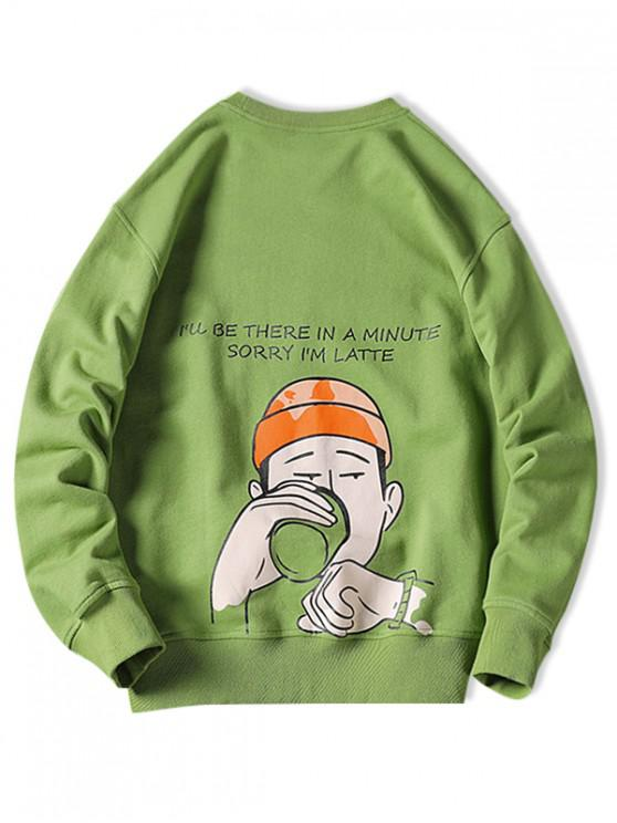 sale Drinking Men Letter Graphic Print Pullover Casual Sweatshirt - GREEN APPLE 3XL