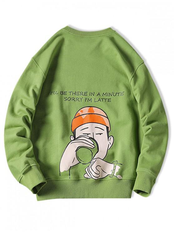 Drinking Men Letter Graphic Print Pullover Sudadera informal - Manzana Verde L
