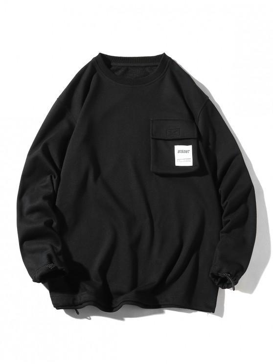Sudadera casual con bolsillo y solapa estampada con aplique de letras - Negro 3XL
