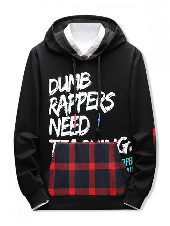 latest Plaid Spliced Letter Graphic Elbow Patch Casual Hoodie - CHERRY RED XS
