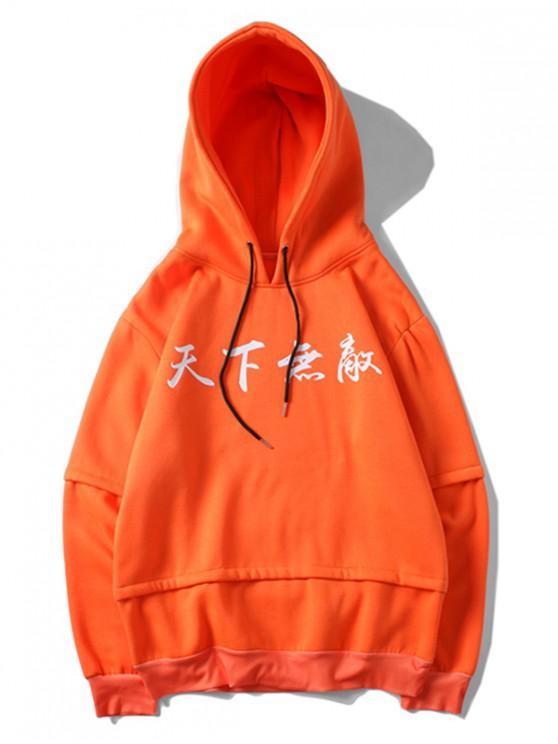 Letter Graphic Print Faux Twinset Kangaroo Pocket Sudadera con capucha - Mango Naranja XL