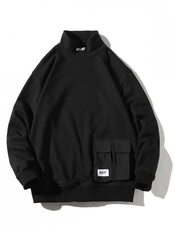 Sudadera casual con estampado de letras y bolsillo en color liso - Negro XL