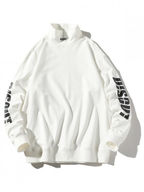 latest Letter Graphic Printed Casual Pullover Sweatshirt - WHITE M