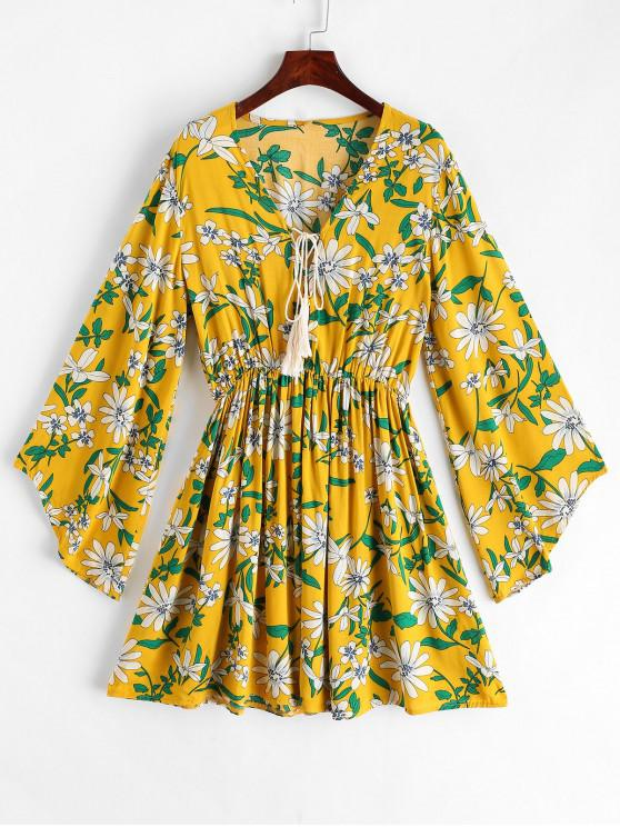 unique ZAFUL Flower Print Lace Up Tassel Flare Sleeve Dress - SUN YELLOW M