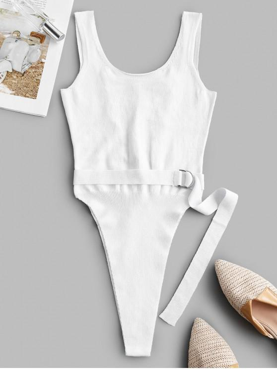 fancy Lace Up Back Belted High Cut Knitted Bodysuit - WHITE M