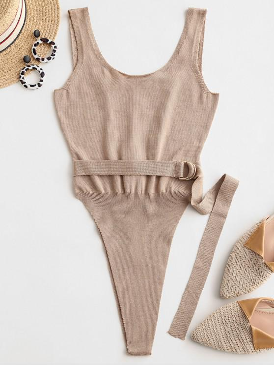 outfits Lace Up Back Belted High Cut Knitted Bodysuit - TAN M