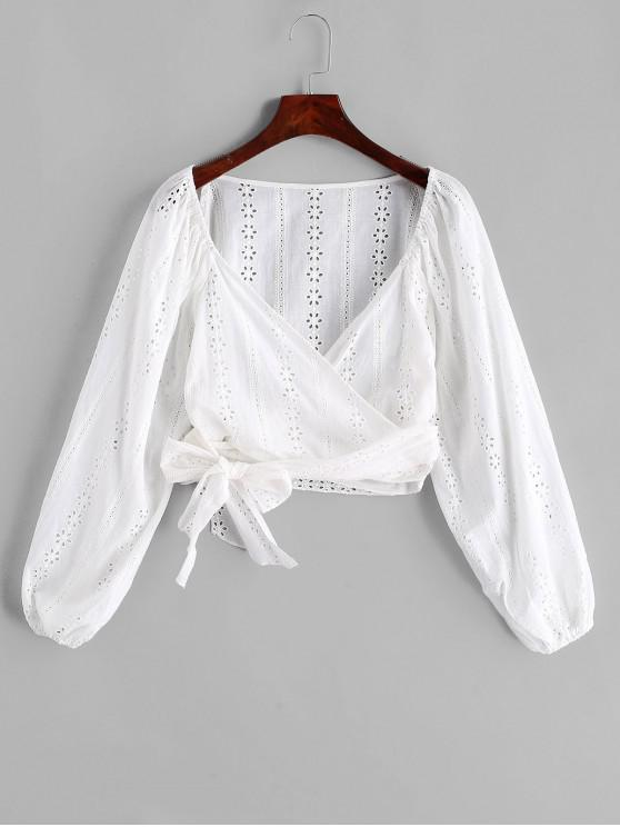 outfit ZAFUL Broderie Anglaise Crop Raglan Sleeve Wrap Blouse - WHITE S