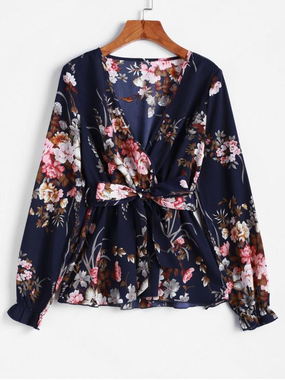 chic ZAFUL Poet Sleeve Floral Belted Skirted Blouse - CADETBLUE M