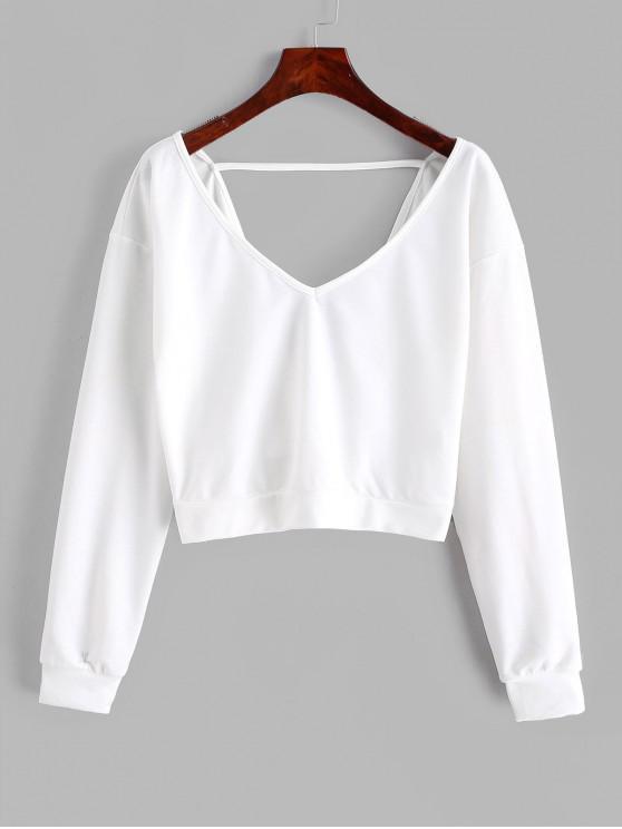 shops ZAFUL V Neck Pullover Twist Back Sweatshirt - WHITE S