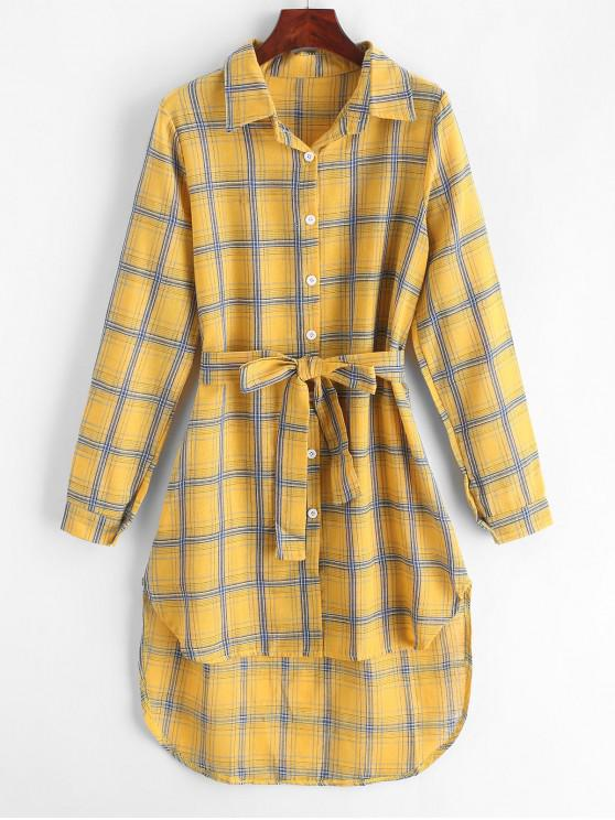 latest Plaid High Low Shirt Dress - GOLDENROD M