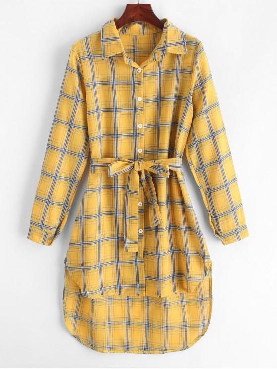 shop Plaid High Low Shirt Dress - GOLDENROD XL