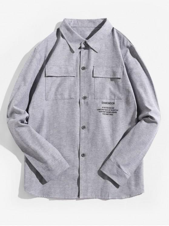 sale Letter Graphic Print Flap Chest Pocket Long Sleeve Shirt - GRAY GOOSE XL