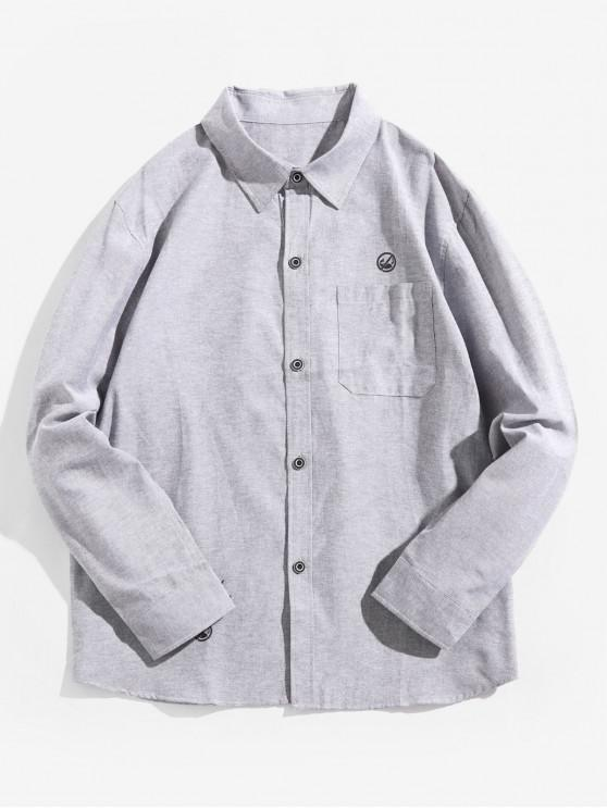 sale Letter Graphic Print Solid Chest Pocket Casual Shirt - GRAY CLOUD M