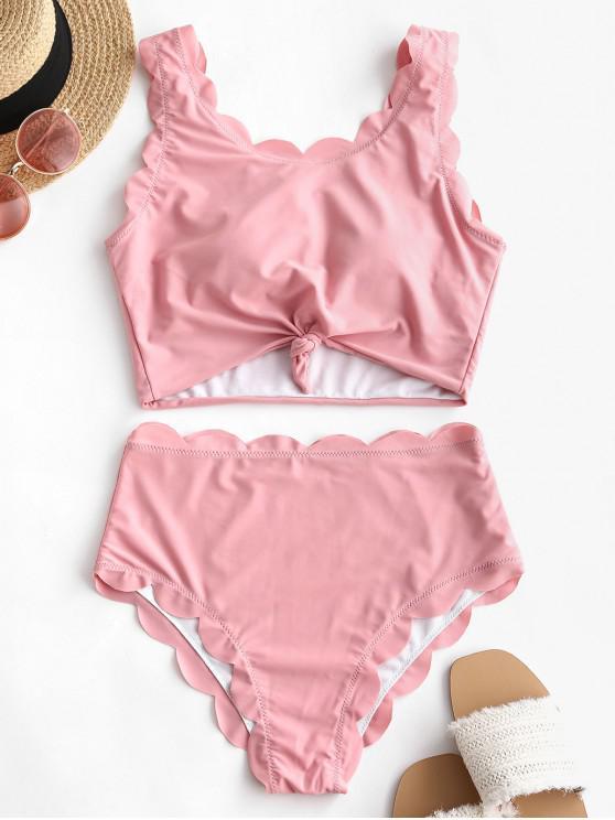 shops ZAFUL Scalloped Knotted Solid Tankini Swimsuit - LIGHT PINK M