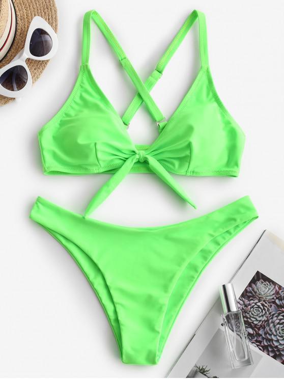 trendy ZAFUL Neon Knotted Criss Cross Bikini Swimsuit - JADE GREEN M