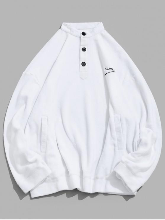 new Letter Embroidery Solid Color Drop Shoulder Half Button Sweatshirt - WHITE S