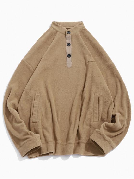 latest Letter Embroidery Solid Color Drop Shoulder Half Button Sweatshirt - LIGHT BROWN L