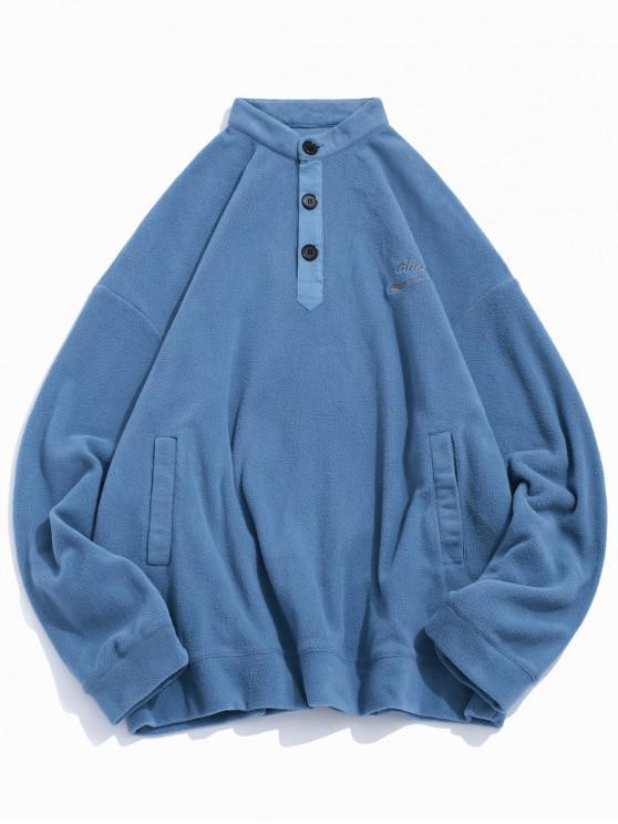unique Letter Embroidery Solid Color Drop Shoulder Half Button Sweatshirt - BLUE IVY XL