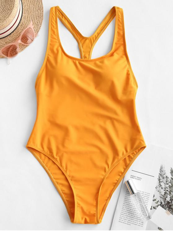shop ZAFUL Racerback Cutout High Cut One-piece Swimsuit - GOLDEN BROWN S