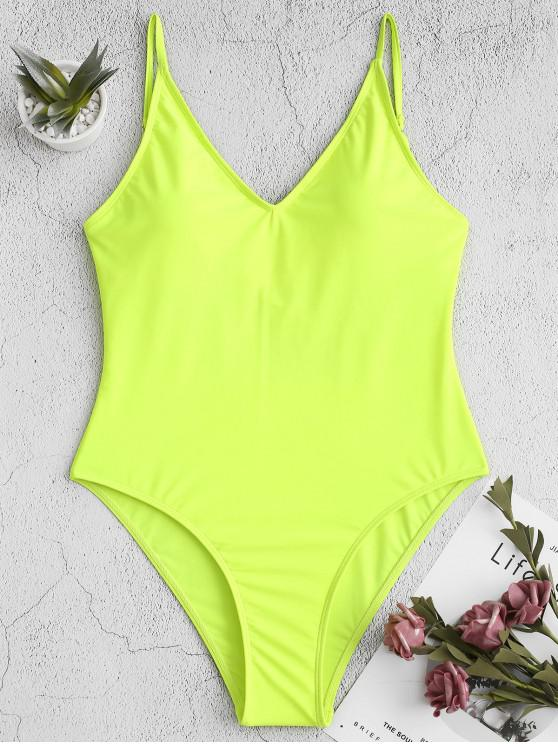 latest ZAFUL Neon Cross High Cut Backless One-piece Swimsuit - GREEN YELLOW S
