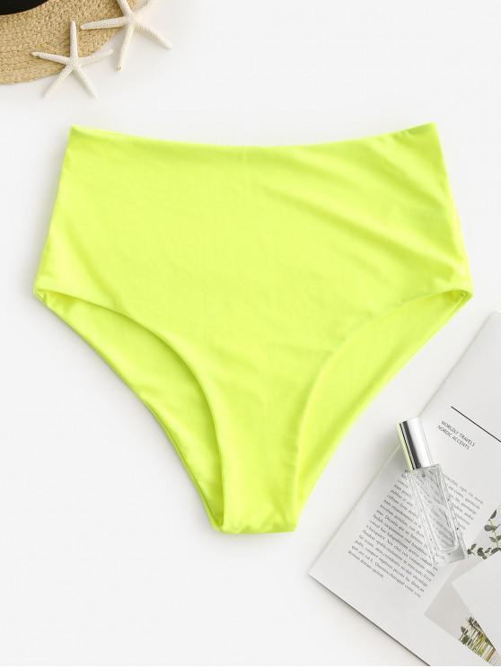 ZAFUL Bas de Bikini Simple à Taille Haute - Vert Jaune M
