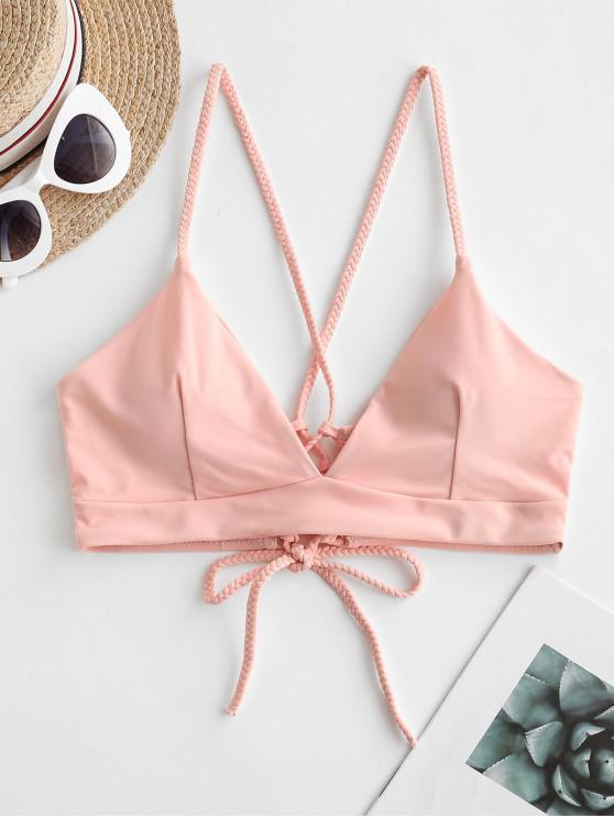 women's ZAFUL Braided Straps Lace Up Padded Bikini Top - LIGHT PINK M