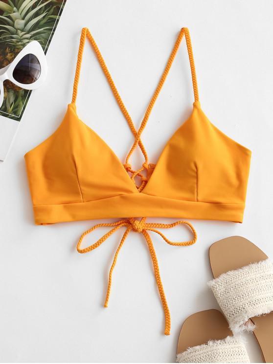 hot ZAFUL Braided Straps Lace Up Padded Bikini Top - BRIGHT YELLOW XL
