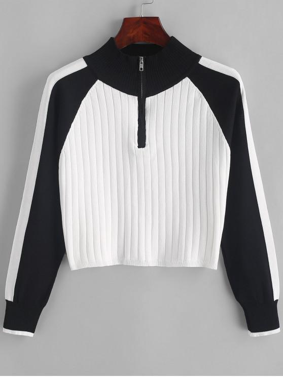womens Half Zip Color Block Mock Neck Sweater - BLACK ONE SIZE