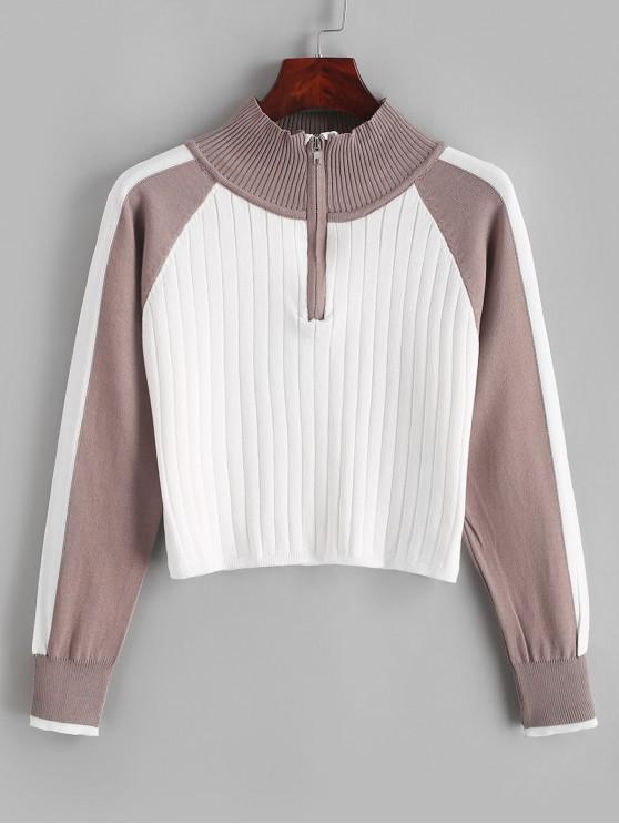 women's Half Zip Color Block Mock Neck Sweater - LIGHT KHAKI ONE SIZE