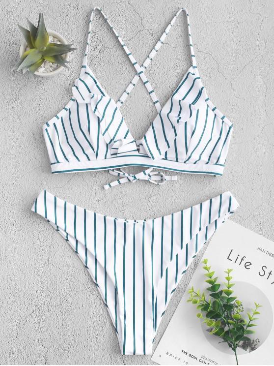 lady ZAFUL Striped Ruffle Crisscross High Leg Bikini Swimsuit - MEDIUM FOREST GREEN M