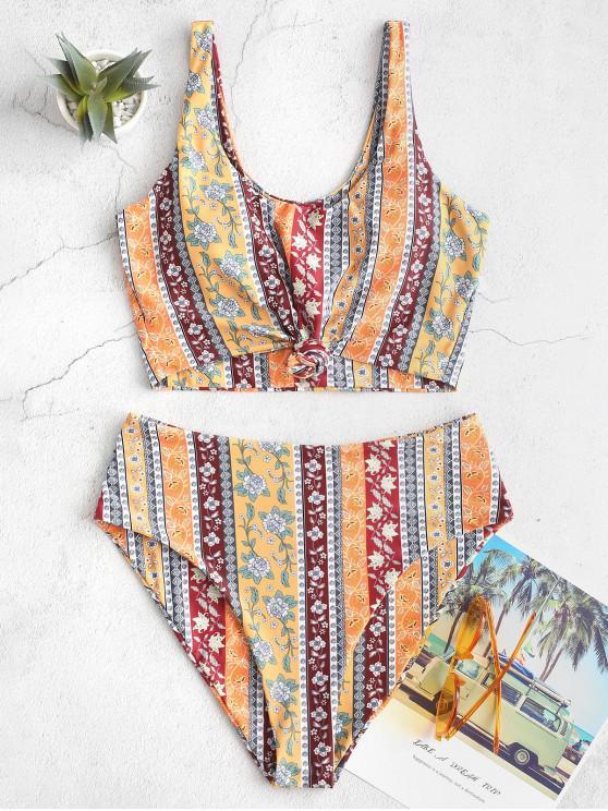 online ZAFUL Bohemian Printed Knot Tankini Swimsuit - GOLDEN BROWN XL