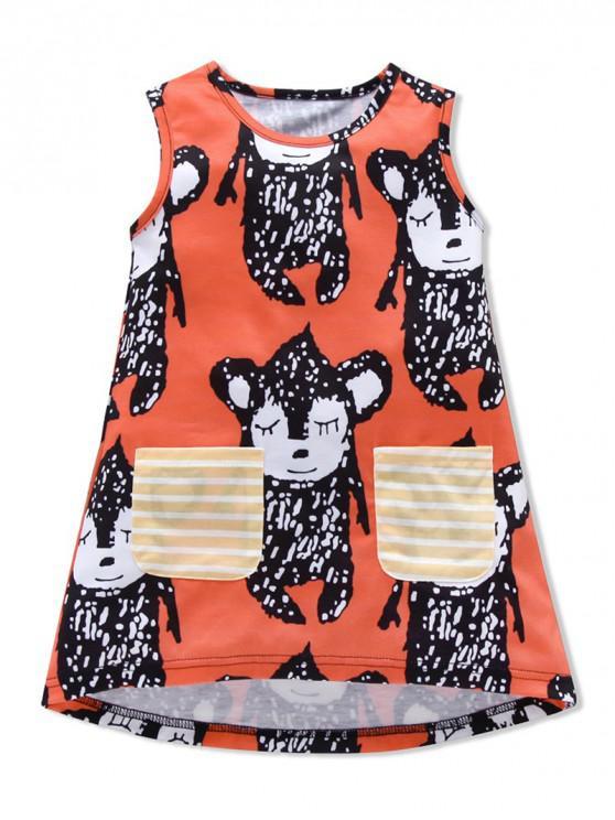 lady Girls Animal Print Striped Pockets High Low Dress - ORANGE 110