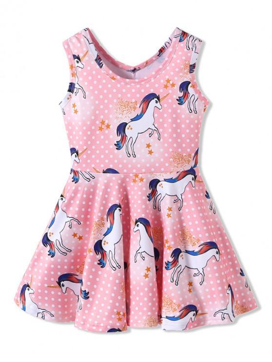 hot Girls Unicorn Polka Dot Print Sleeveless Dress - PINK 120