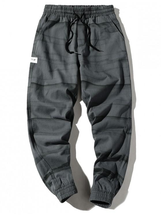 shop Applique Striped Print Drawstring Casual Jogger Pants - BATTLESHIP GRAY S