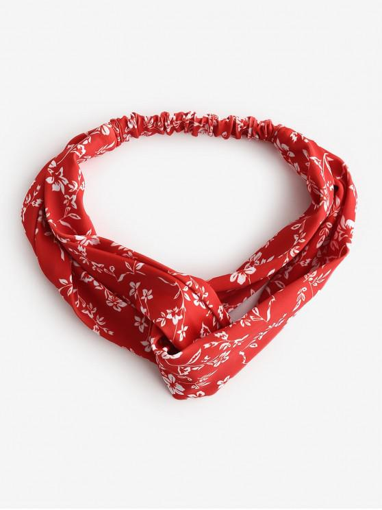 affordable ZAFUL Ditsy Floral Cross Twisted Beach Headband - RED