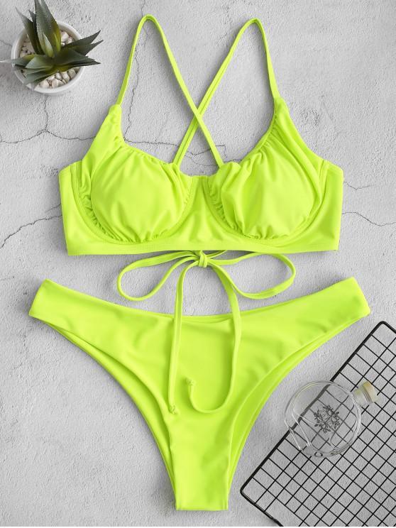 shop ZAFUL Criss Cross Ruched Push Up Bikini Swimsuit - CHARTREUSE L