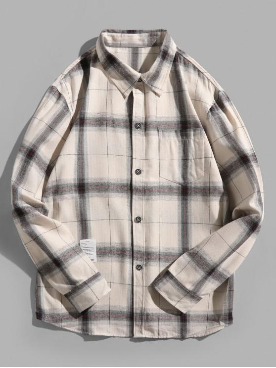fancy Plaid Print Chest Pocket Long Sleeve Button Shirt - CRYSTAL CREAM 3XL