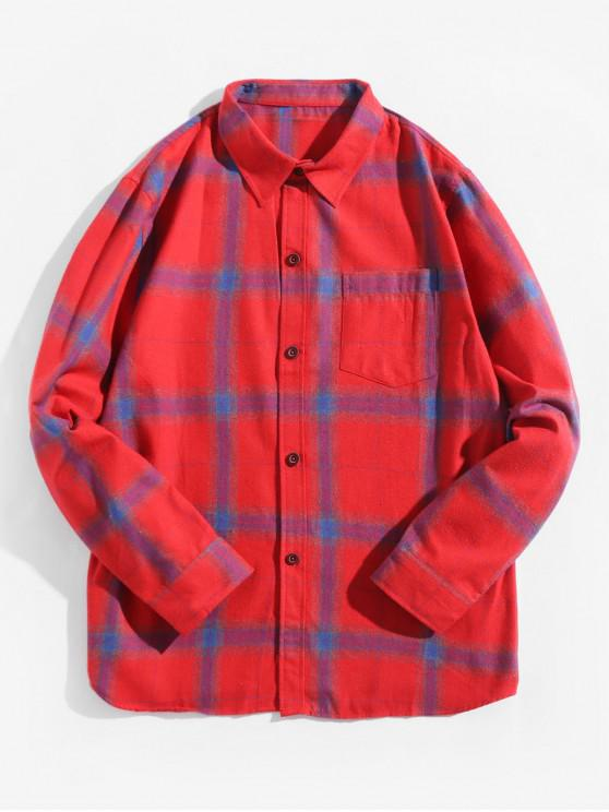 women's Plaid Print Chest Pocket Long Sleeve Button Shirt - BEAN RED L