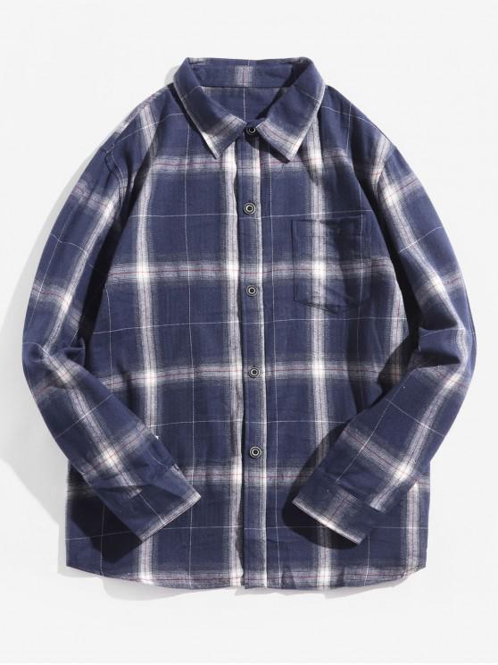 womens Plaid Print Chest Pocket Long Sleeve Button Shirt - DARK SLATE BLUE M