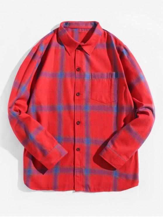 womens Plaid Print Chest Pocket Long Sleeve Button Shirt - BEAN RED 2XL