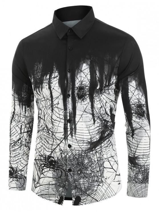 العنكبوت المطبوعة قميص طويل الأكمام - أبيض 2XL