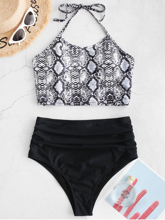 online ZAFUL Snakeskin Halter Ruched Tankini Swimsuit - WHITE XL