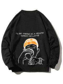 Sweat-shirt Décontracté Lettre Graphique Imprimée - Noir 3xl
