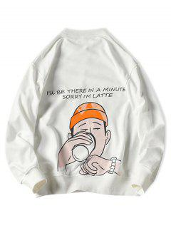 Drinking Men Letter Graphic Print Pullover Casual Sweatshirt - White Xl