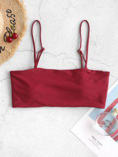 ZAFUL Boning Side Padded Cami Bikini Top - Red Wine L